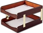 Crocodile Embossed Leather Double Front Load Letter Trays - Brown [A2020-FS-DAC]