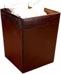 Crocodile Embossed Leather Square Waste Basket - Brown [A2003-FS-DAC]