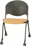 2000 Series Stack Chair with Upholstered Seat and Casters [FP2000-IFK]