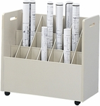 30.25'' W x 15.75'' D x 29.25'' H Twenty-One Compartment Mobile Roll File - Putty [3043-FS-SAF]
