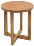 21'' Round Wooden End Table with X Base - Oak [HWTE2123MO-FS-REG]