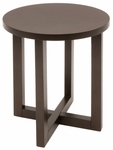 21'' Round Wooden End Table with X Base - Mocha Walnut [HWTE2123MW-FS-REG]