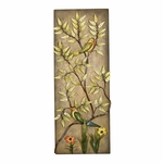 Weathered Bronze Oil Rubbed Metal Flower 32''H Wall Panel with Tropical Birds - Multicolor [2154-FS-PAS]