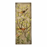 Weathered Bronze Oil Rubbed Metal Flower 32''H Wall Panel with Orange Birds - Multicolor [2155-FS-PAS]
