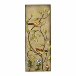 Weathered Bronze Oil Rubbed Metal Flower 32''H Wall Panel with Yellow Birds - Multicolor [2156-FS-PAS]