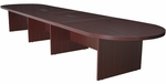 Legacy 216''W Modular Racetrack Wooden Conference Table with 2 Power Data Grommets - Mahogany [LCTRT21652MH-FS-REG]