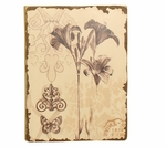 Distressed Painted Lilly Wooden Floral 15.75''H Wall Art - Brown and Cream [2196-FS-PAS]