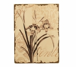 Distressed Painted Flower Wooden 15.75''H Wall Art - Brown and Cream [2197-FS-PAS]
