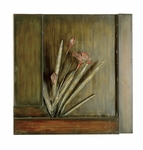 Distressed Hand Painted Metal Red Floral 16.5''H Wall Decor - Brown and Green [2254-FS-PAS]