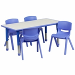23.625''W x 47.25''L Adjustable Rectangular Blue Plastic Activity Table Set with 4 School Stack Chairs [YU-YCY-060-0034-RECT-TBL-BLUE-GG]