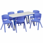 23.625''W x 47.25''L Rectangular Blue Plastic Height Adjustable Activity Table Set with 6 Chairs [YU-YCY-060-0036-RECT-TBL-BLUE-GG]