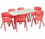 23.625''W x 47.25''L Adjustable Rectangular Red Plastic Activity Table Set with 6 School Stack Chairs [YU-YCY-060-0036-RECT-TBL-RED-GG]
