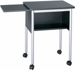 23'' W x 19.5'' D x 28.5'' H Machine Stand with Slide Away Shelf - Black and Metallic Gray [1873BL-FS-SAF]