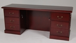 23 x 72 Wood Veneer Double Ped Credenza in Mahogany Finish [962MH-FS-FDG]