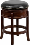 24'' Backless Cherry Wood Counter Height Stool with Black Leather Swivel Seat [TA-68824-CHY-CTR-GG]