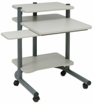 Dual Level 30''W x 25.5''D x 34.75''H Computer Workstation - Pewter and Gray [18691-FS-SDI]