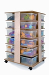 Space Saving 24-Cubby Birch Laminate Tower with Clear Trays Included [WB0702-FS-WBR]