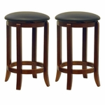 24''H Faux Leather Swivel Stool-Set of 2 [94624-FS-WWT]