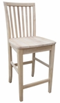 Mission Solid Parawood Armless Vertical Slat Back 24''H Counter Stool - Unfinished [265-24-FS-WHT]