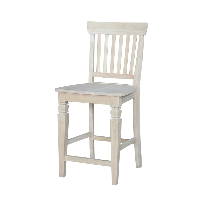 Counter Height Unfinished Chairs : Seattle Solid Parawood 24H Counter Height Stool with Vertical Slats...