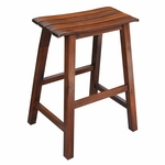 Classic Solid Wood 24''H Saddle Slat Seat Counter Stool - Espresso [S581-782-FS-WHT]