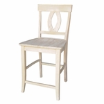 Verona Traditional Solid Parawood 24''H Counter Height Stool - Unfinished [S-1702-FS-WHT]