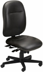 24 Hour High Performance Armless Office Chair with 300 lb Capacity - Black Leather [2424AGLBLT-FS-MAY]