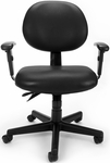 24 Hour Anti-Microbial and Anti-Bacterial Vinyl Task Chair with Arms - Black [241-VAM-AA-606-FS-MFO]