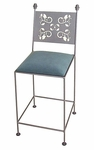 Leaves 24'' Wrought Iron Counter Stool with Upholstered Seat [GMC-3024-LEAVES-FS-GCM]