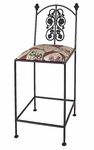 Rose 24''H Wrought Iron Counter Stool with Upholstered Seat [GMC-3024-3A-FS-GCM]