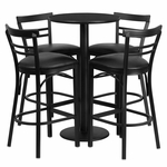 24'' Round Black Laminate Table Set with Ladder Back Barstool and Black Vinyl Seat,Seats 4 [REST-019-BK-BK-FS-TDR]