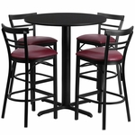 24'' Round Black Laminate Table Set with Ladder Back Metal Bar Stool and Burgundy Vinyl Seat,Seats 4 [REST-010-BG-BK-FS-TDR]