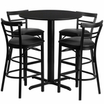 24'' Round Black Laminate Table Set with Ladder Back Metal Barstool and Black Vinyl Seat,Seats 4 [REST-009-BK-BK-FS-TDR]