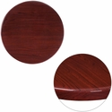 24'' Round High-Gloss Mahogany Resin Table Top with 2'' Thick Edge