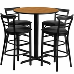 24'' Round Natural Laminate Table Set with Ladder Back Metal Barstool and Black Vinyl Seat, Seats 4 [REST-009-BK-NAT-FS-TDR]