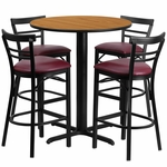 24'' Round Natural Laminate Table Set with Ladder Back Metal Barstool and Burgundy Vinyl Seat,Seats 4 [REST-010-BG-NAT-FS-TDR]