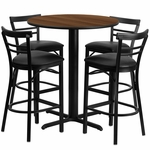 24'' Round Walnut Laminate Table Set with Ladder Back Metal Barstool and Black Vinyl Seat,Seats 4 [REST-009-BK-WAL-FS-TDR]
