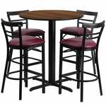 24'' Round Walnut Laminate Table Set with Ladder Back Metal Barstool and Burgundy Vinyl Seat, Seats 4 [REST-010-BG-WAL-FS-TDR]