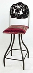Wildlife Silhouette 24'' Wrought Iron Swivel Barstool with Upholstered Seat and Contempo Base [GMC-SW224-SML-FS-GCM]