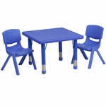 24'' Square Adjustable Blue Plastic Activity Table Set with 2 School Stack Chairs [YU-YCX-0023-2-SQR-TBL-BLUE-R-GG]