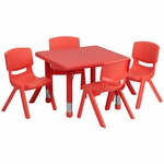24'' Square Adjustable Red Plastic Activity Table Set with 4 School Stack Chairs [YU-YCX-0023-2-SQR-TBL-RED-E-GG]