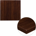 24'' Square High-Gloss Walnut Resin Table Top with 2'' Thick Edge