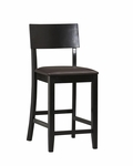 Torino Collection 24''H Contemporary Counter Stool [01854BLK-01-KD-U-FS-LIN]