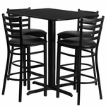 24''W x 42''L Rectangular Black Laminate Table Set with Ladder Back Metal Barstool and Black Vinyl Seat,Seats 4 [REST-005-BK-BK-FS-TDR]