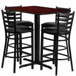 24''W x 42''L Rectangular Mahogany Laminate Table Set with Ladder Back Metal Barstool and Black Vinyl Seat,Seats 4 [REST-005-BK-MAH-FS-TDR]