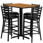 24''W x 42''L Rectangular Natural Laminate Table Set with Ladder Back Metal Barstool and Black Vinyl Seat,Seats 4 [REST-005-BK-NAT-FS-TDR]