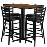 24''W x 42''L Rectangular Walnut Laminate Table Set with Ladder Back Metal Barstool and Black Vinyl Seat,Seats 4 [REST-005-BK-WAL-FS-TDR]