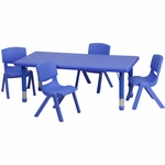 24''W x 48''L Adjustable Rectangular Blue Plastic Activity Table Set with 4 School Stack Chairs [YU-YCX-0013-2-RECT-TBL-BLUE-R-GG]