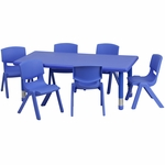 24''W x 48''L Adjustable Rectangular Blue Plastic Activity Table Set with 6 School Stack Chairs [YU-YCX-0013-2-RECT-TBL-BLUE-E-GG]
