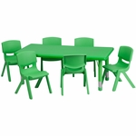 24''W x 48''L Adjustable Rectangular Green Plastic Activity Table Set with 6 School Stack Chairs [YU-YCX-0013-2-RECT-TBL-GREEN-E-GG]